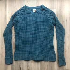 The North Face waffle knit blue long sleeved tee